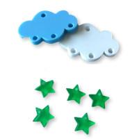 Colgante mini estrella de plexy verde  7 mm ( para combinar con las nubes PXC-101) - 1 unidad