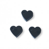 Colgante mini corazon de plexy negro 7 mm - 1 unidad