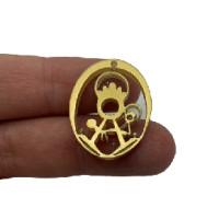 Plexy dorado - Entrepieza y colgante Virgen de la Fuensanta 25x20 mm