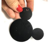 Colgante plexy negro - Cabeza raton 76 mm ( ideal llavero), taladro 2.5 mm