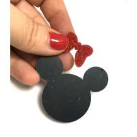 Aplique plexy negro - Cabeza raton negra 50 mm + Lazito glitter rojo 20 mm ( no taladro)