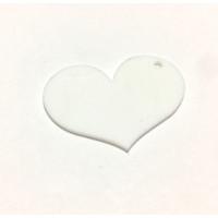 Plexy blanco - Colgante corazon 50 mm, taladro lateral int 2 mm