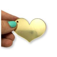 Plexy dorado espejo - Colgante corazon 50 mm, taladro lateral int 2 mm