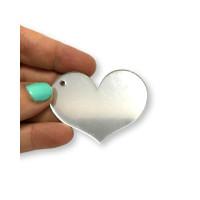 Plexy plateado espejo - Colgante corazon 50 mm, taladro lateral int 2 mm