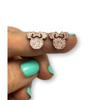 Plexy chocolate glitter - Aplique silueta ratona 12 mm para pegar ( ideal pendientes) 2 uds - 1 par