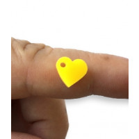 Colgante mini corazon de plexy amarillo limon 7 mm -1 unidad