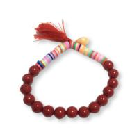 Pulsera abalorios katsuki y perlas de nacar con pompon rojo