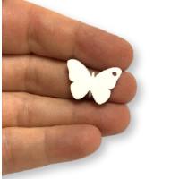 Plexy blanco - Colgante mariposa 20 mm, int 1.2 mm