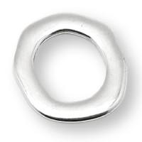 Entrepieza Zamak baño plata aro irregular 40 mm, int 25 mm