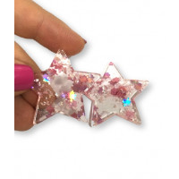 Colgante estrella de resina y purpurinas 35x33 mm - Modelo rosa claro