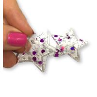Colgante estrella de resina y purpurinas 35x33 mm - Modelo corazones fucsias