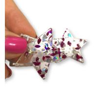 Colgante estrella de resina y purpurinas 35x33 mm - Modelo fucsia y plata