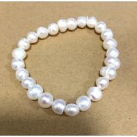 Pulsera elastica de Perlas de rio blancas
