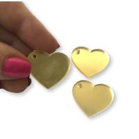 Plexy dorado espejo - Colgante corazon 25x22 mm