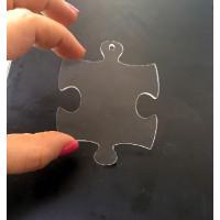 Plexy transparente incoloro - Colgante puzzle grande 76x61 mm