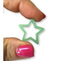 Plexy verde pastel - Colgante y entrepieza estrella hueca 20 mm, int 1.5 mm