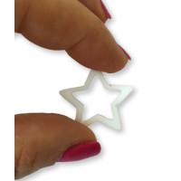 Plexy blanco - Colgante y entrepieza estrella hueca 20 mm, int 1.5 mm