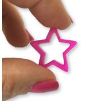Plexy fucsia - Colgante y entrepieza estrella hueca 20 mm, int 1.5 mm
