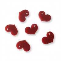 Plexy rojo mate - Colgante corazon chato 17x15 mm, int 1.8 mm