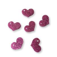 Plexy fucsia glitter - Colgante corazon chato 17x15 mm, int 1.8 mm