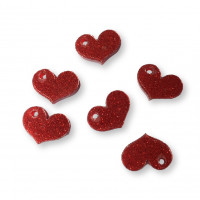 Plexy rojo glitter - Colgante corazon chato 17x15 mm, int 1.8 mm
