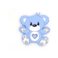 Figura silicona 80x90 mm- Mordedor Osito - Color Azul bebe