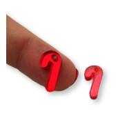 Plexy rojo espejo - Colgante baston navidad peque 15x8 mm, int 1.5 mm
