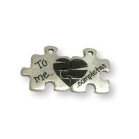 Tu me completas - Puzzle colgante Zamak baño plata 20 mm (2xZC825)