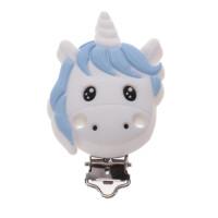 Pinza chupetero silicona 67x42 mm- Unicornio blanco y azul bebe
