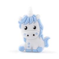 Unicornio de silicona 32x24 mm- Blanco y Azul Bebe