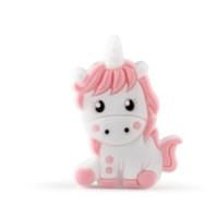 Unicornio de silicona 32x24 mm- Blanco y Rosa bebe