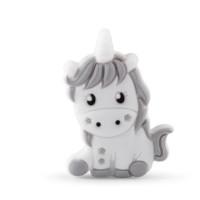 Unicornio de silicona 32x24 mm- Blanco y Gris Claro