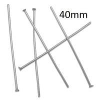 Baston aguja Acero inox cabeza plateado 40x1 mm (25 uds)