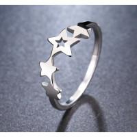 Anillo plateado acero inoxidable - Pentagrama de estrellas -Talla 14