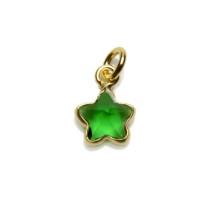 Colgante Plata de Ley baño oro y Circonitas - Estrella mini 5 mm (Esmeralda)