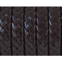 Cuero trenzado palote-regaliz 100% cuero 10x6 mm marron  ( 50 cm)