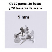 Kit bases pendientes 5 mm (10 pares) - Bases pendiente palillo acero inoxidable 5x10 mm