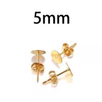 Kit bases pendientes dorado 5 mm (10 pares) - Bases pendiente palillo acero inoxidable