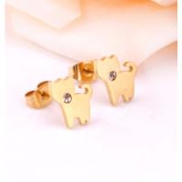 Gatito dorado con circonita - Pendientes acero inoxidable dorado- 1 par