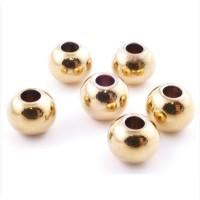 5 uds - Bola de acero dorado inoxidable 8 mm Taladro 3 mm