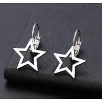 Estrella hueca 15 mm- Pareja pendientes acero plateado con cierre catalan