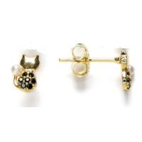Gato circonitas negras y perla 2 mm  - Pendientes Plata de ley baño de oro 7x5 mm