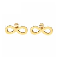 Infinito 10 mm - Pendientes acero inoxidable dorado- 1 par