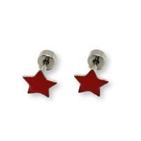 Estrella fucsia 9 mm cierre rosca - Pendientes acero inoxidable plateado y esmalte - 1 par