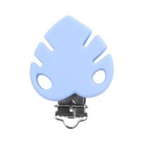 Pinza chupetero silicona 40x40 mm- Hoja mostera azul bebe
