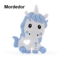 Figura silicona 110x80 mm- Mordedor Unicornio - Blanco y Azul bebe
