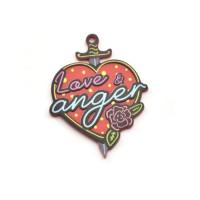 "Plexy multicolor - Colgante corazon ""Love & Anger"" 50x39 mm"