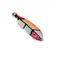 Plexy multicolor - Colgante pluma colorida 55x13 mm