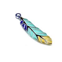 Plexy multicolor - Colgante pluma colorida azul verde amarillo 50x11 mm
