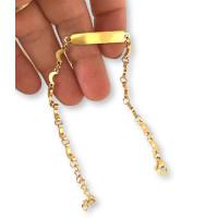 Pulsera acero dorada lunas y placa 25x4 mm, largo 18+4 cm